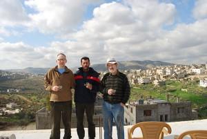Rabbi Michael Davis with Palestinian olive farmer